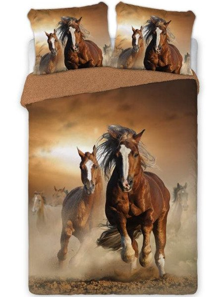 Bavlněné Povlečení Percal Koně - Ložnice   Tradiční Povlečení Děti ... 46ad94a41fd